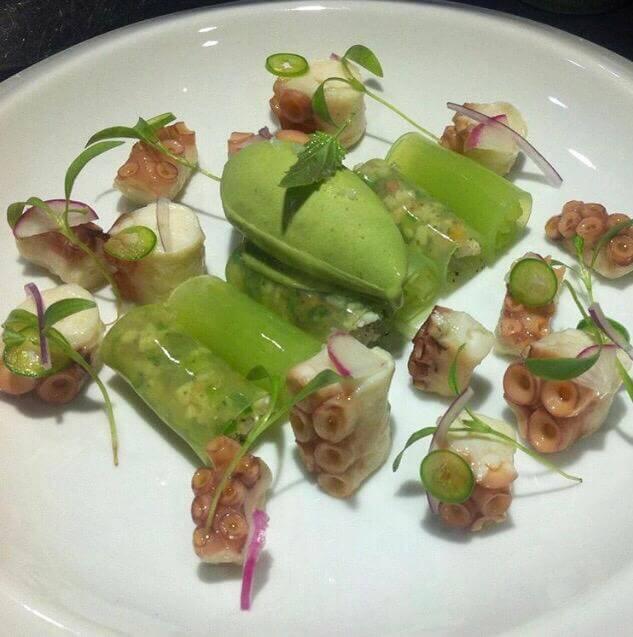 ceviche de pulpo con sorbete y velo de cilantro y jalapeno (1)